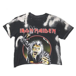 Tops - Iron Maiden Bleached and Cropped Graphic Band Tee